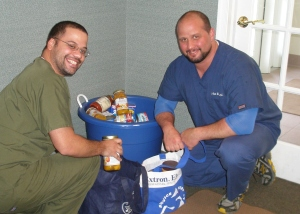 JP and Dr Wagner packing up the food for Doylestown Food Pantry on Old Dublin Pike